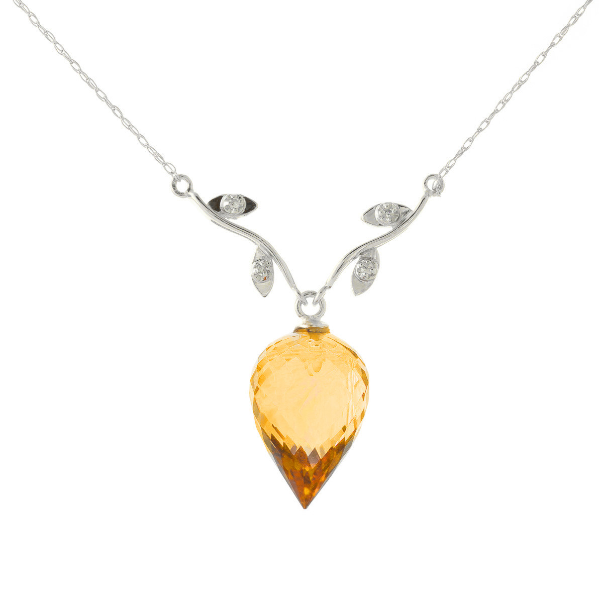 Pointed Briolette Cut Citrine Pendant Necklace 9.52 ctw in 9ct White Gold