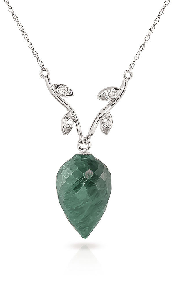 Pointed Briolette Cut Emerald Pendant Necklace 12.92 ctw in 9ct White Gold