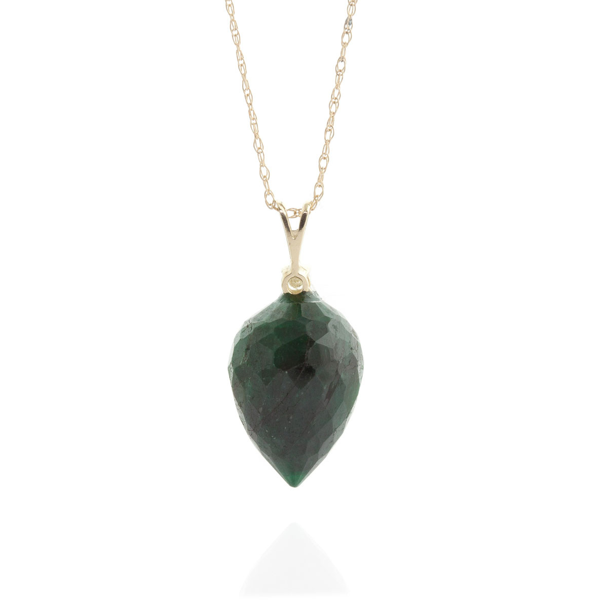 Pointed Briolette Cut Emerald Pendant Necklace 12.95 ctw in 9ct Gold
