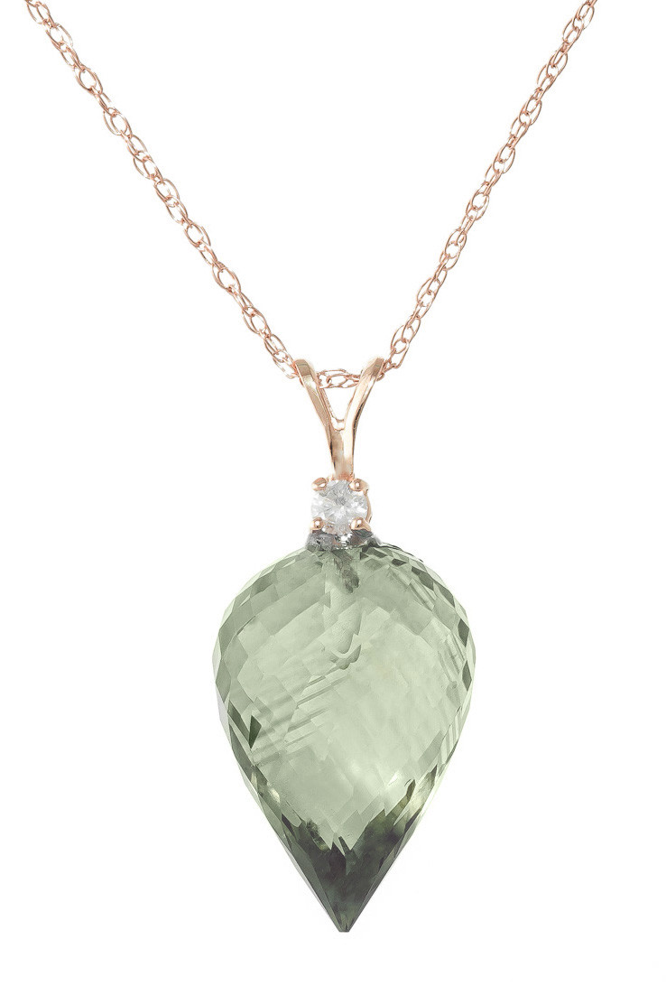 Pointed Briolette Cut Green Amethyst Pendant Necklace 9.55 ctw in 9ct Rose Gold