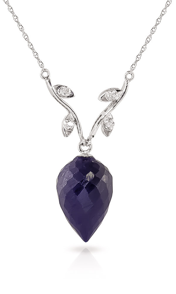 Pointed Briolette Cut Sapphire Pendant Necklace 12.92 ctw in 9ct White Gold