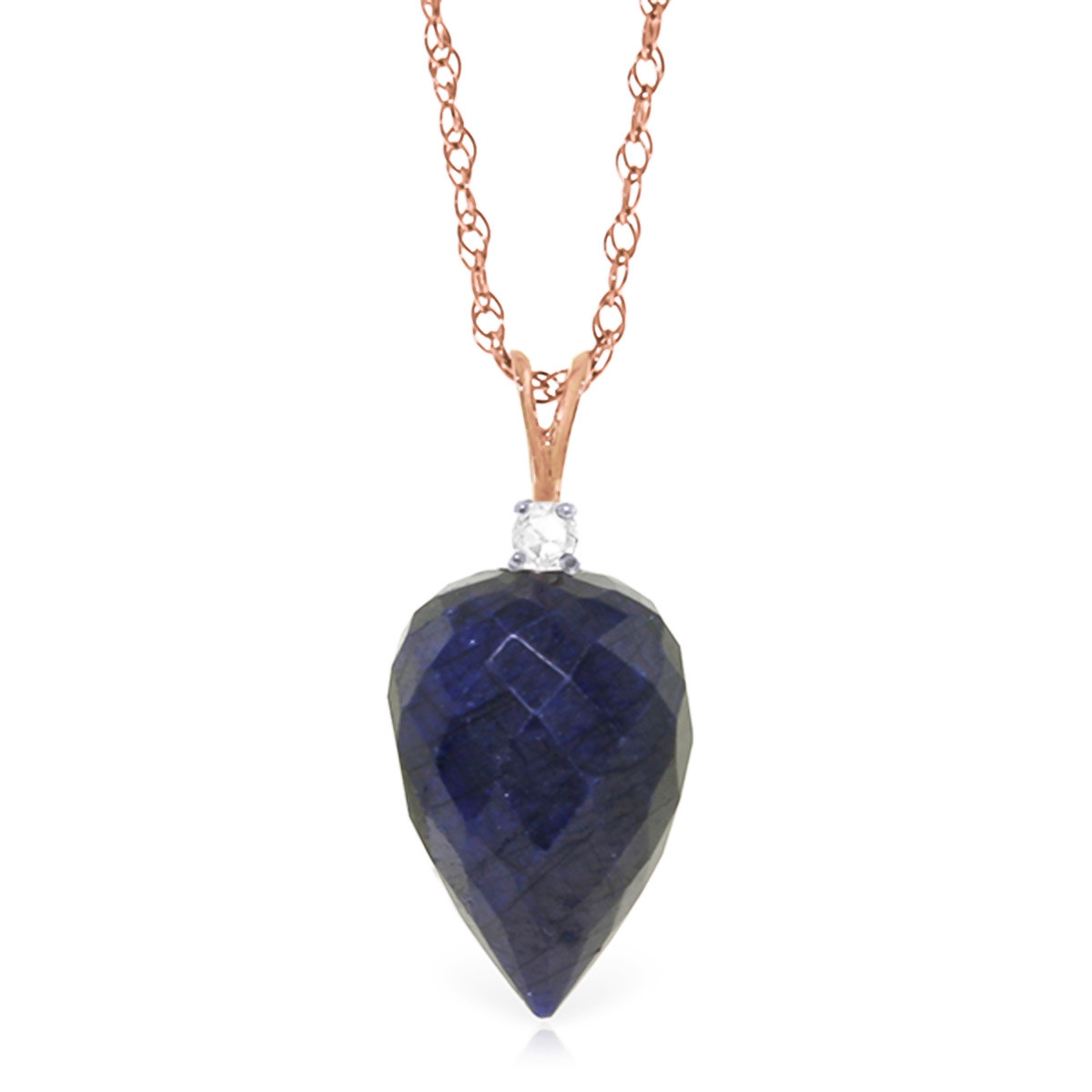 Pointed Briolette Cut Sapphire Pendant Necklace 12.95 ctw in 9ct Rose Gold