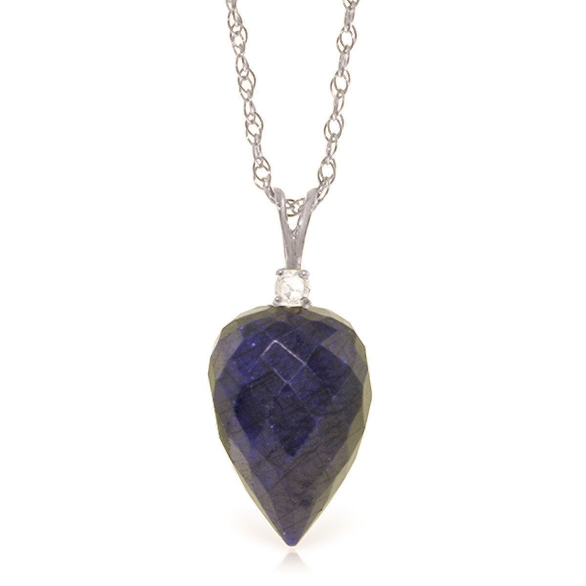Pointed Briolette Cut Sapphire Pendant Necklace 12.95 ctw in 9ct White Gold