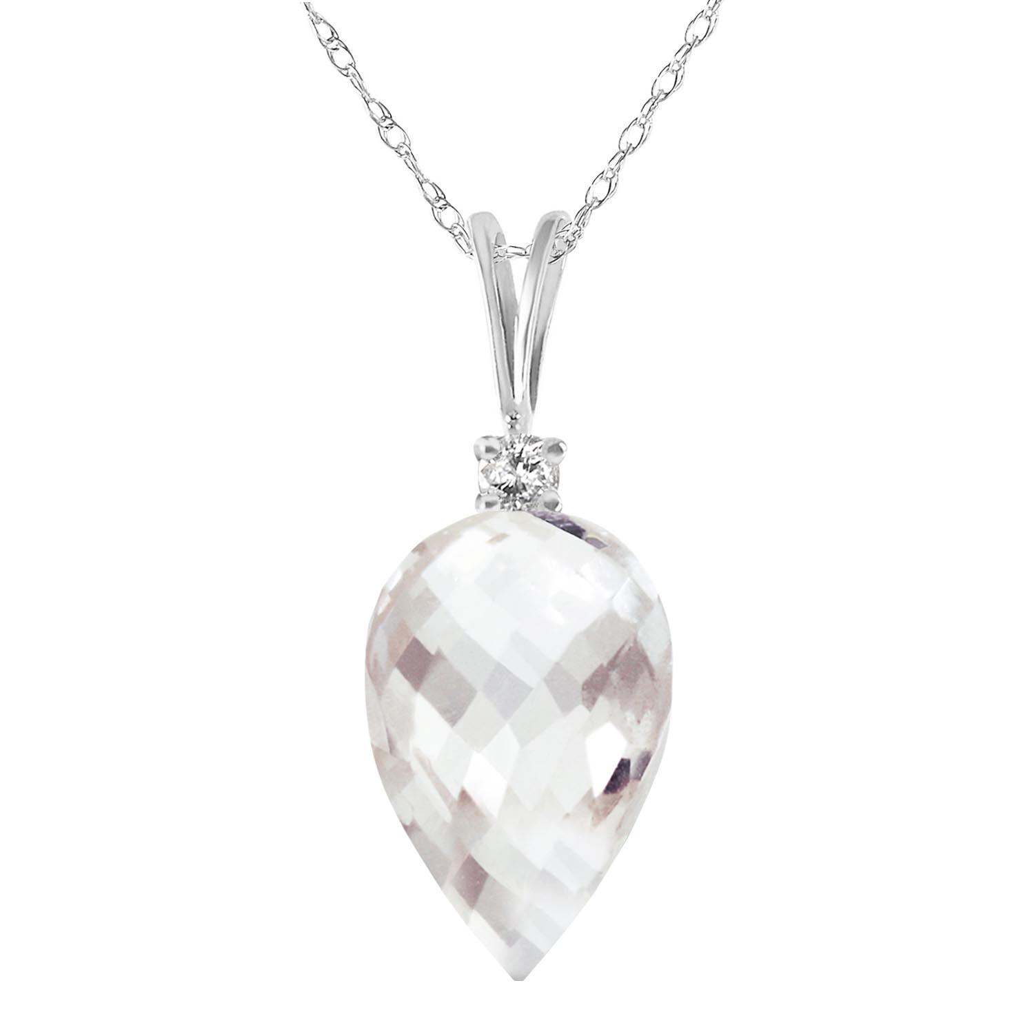 Pointed Briolette Cut White Topaz Pendant Necklace 12.3 ctw in 9ct White Gold
