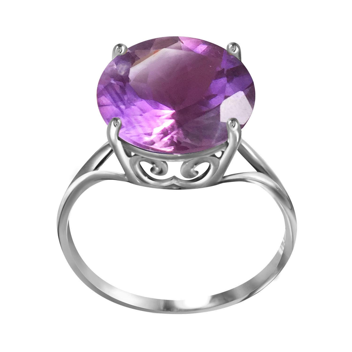 Round Cut Amethyst Ring 5.5 ct in 9ct White Gold