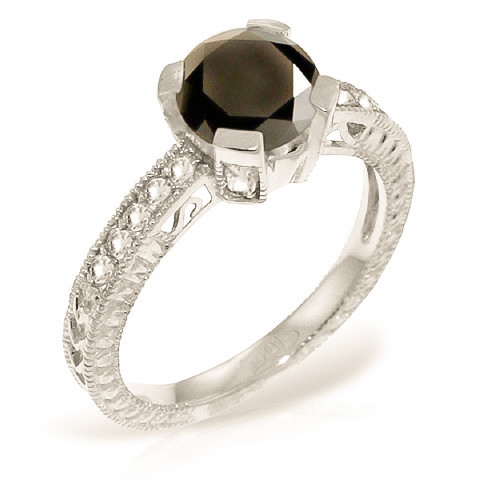 Round Cut Black Diamond Ring 1.3 ctw in 9ct White Gold