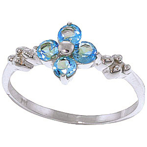 Round Cut Blue Topaz Ring 0.58 ctw in 9ct White Gold
