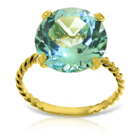 Round Cut Blue Topaz Ring 8 ct in 9ct Gold
