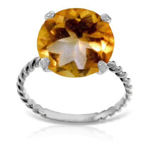 Round Cut Citrine Ring 5.5 ct in 9ct White Gold