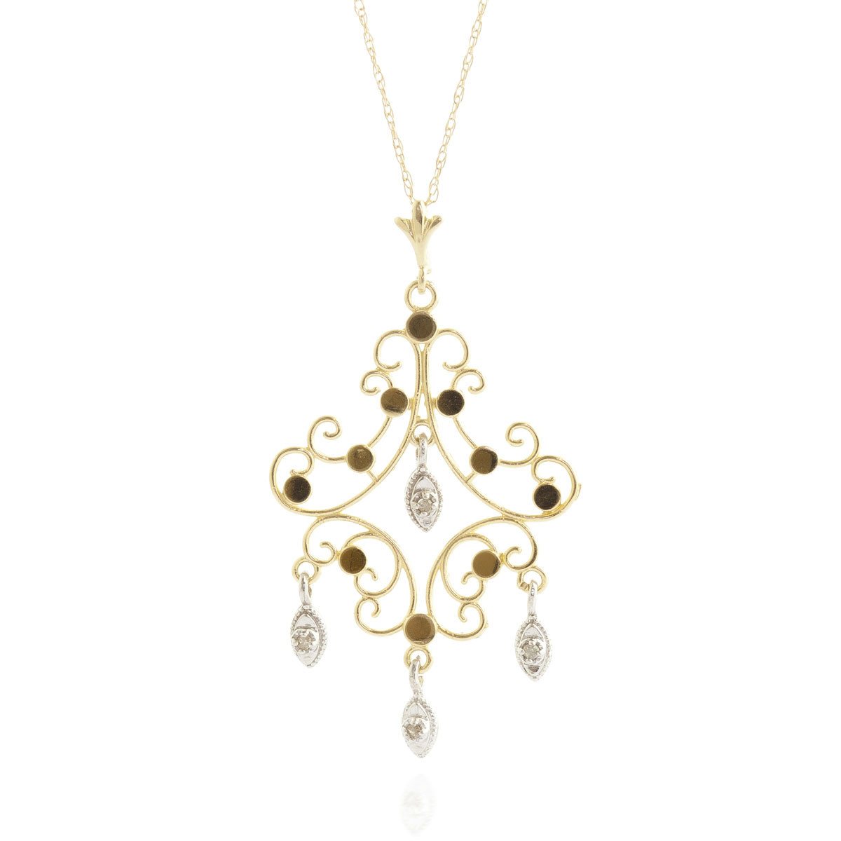Round Cut Diamond Pendant Necklace 0.02 ctw in 9ct Gold