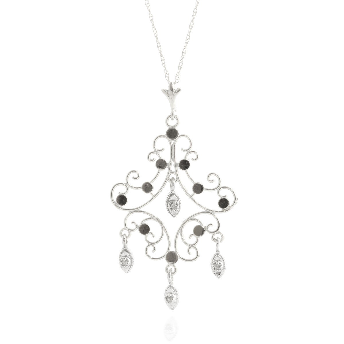 Round Cut Diamond Pendant Necklace 0.02 ctw in 9ct White Gold