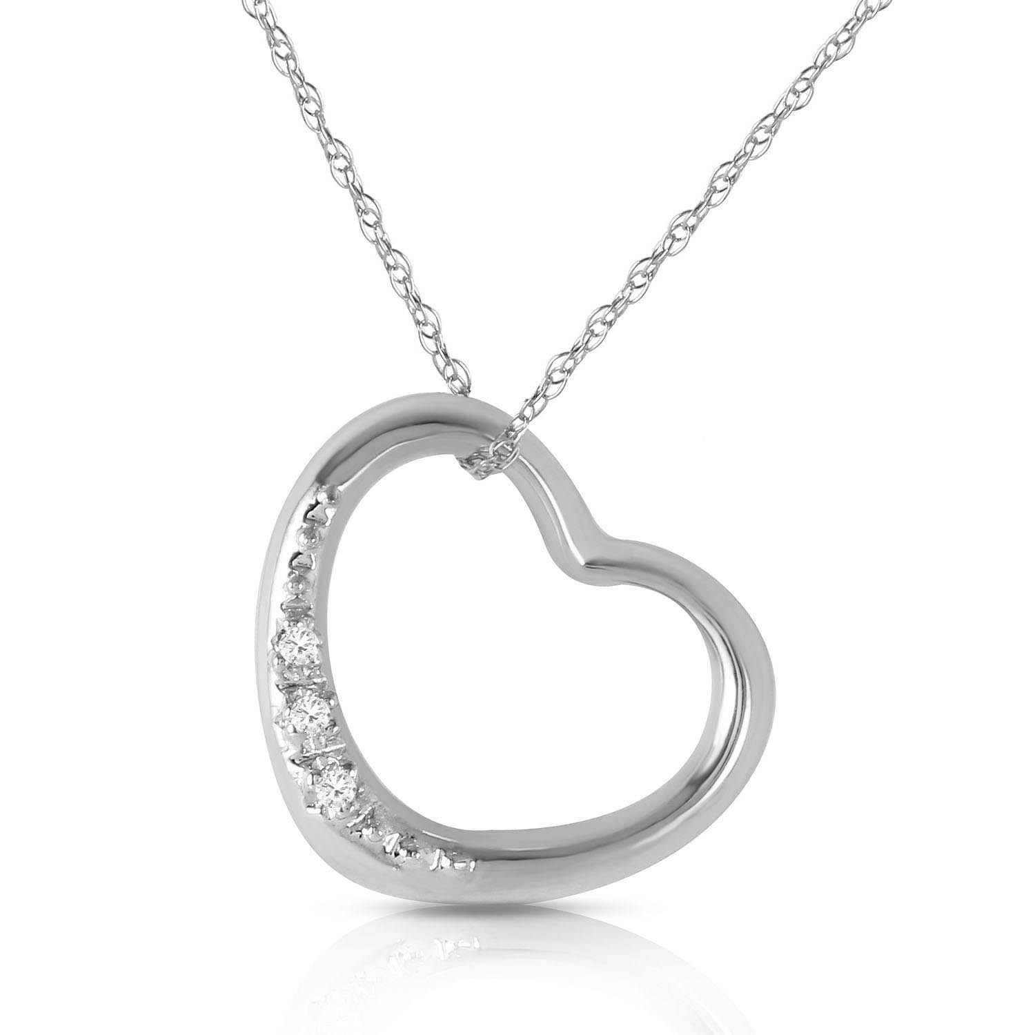 Round Cut Diamond Pendant Necklace 0.03 ctw in 9ct White Gold