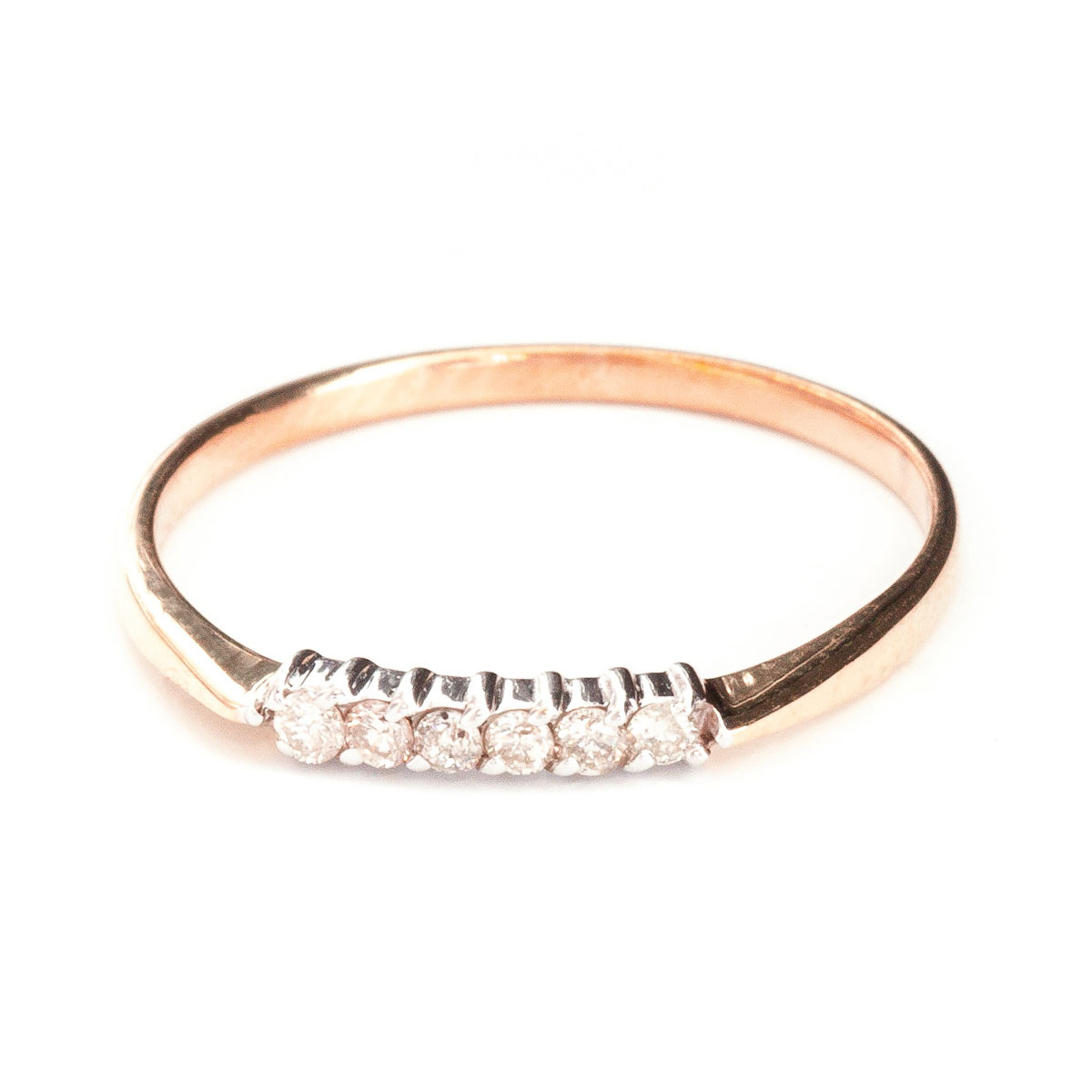 Round Cut Diamond Ring 0.1 ctw in 9ct Rose Gold