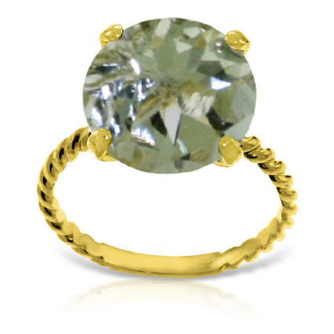 Round Cut Green Amethyst Ring 4.8 ct in 9ct Gold
