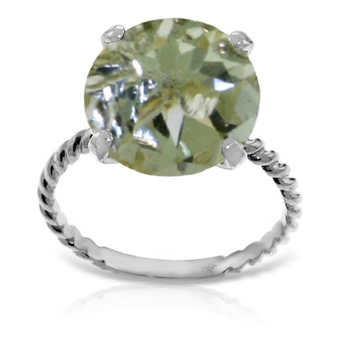 Round Cut Green Amethyst Ring 4.8 ct in 9ct White Gold