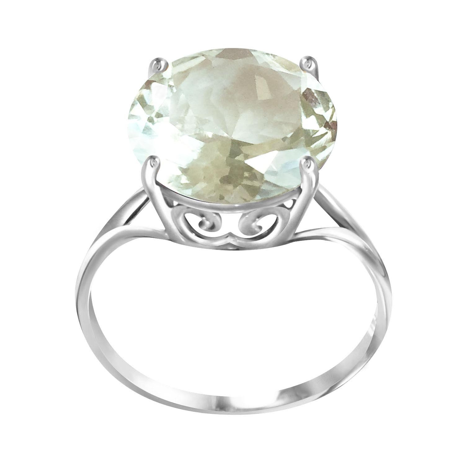 Round Cut Green Amethyst Ring 5.5 ct in 9ct White Gold