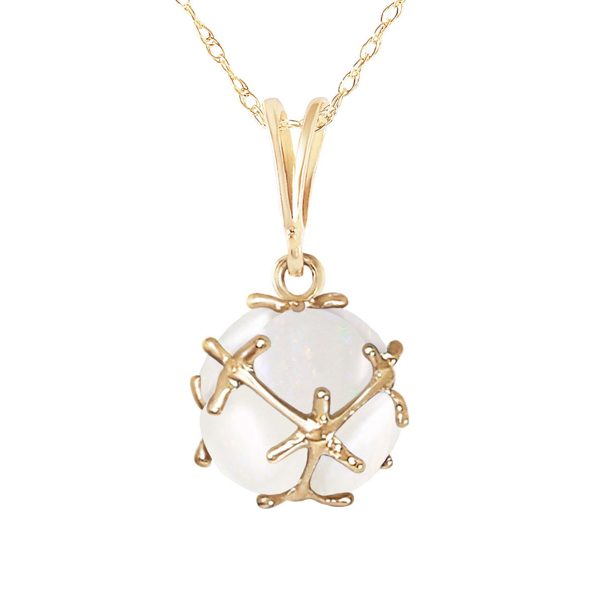 Round Cut Opal Pendant Necklace 2 ctw in 9ct Gold