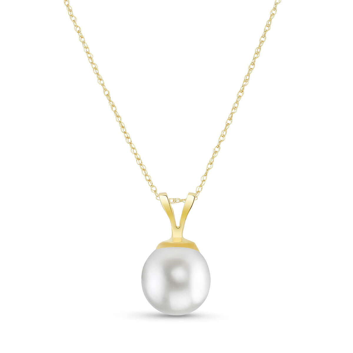 Round Cut Pearl Pendant Necklace 2 ct in 9ct Gold