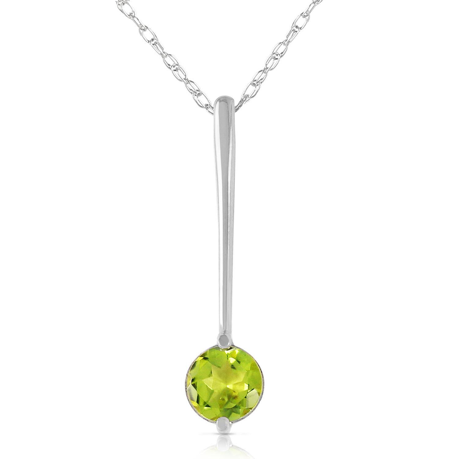 Round Cut Peridot Pendant Necklace 0.65 ct in 9ct White Gold