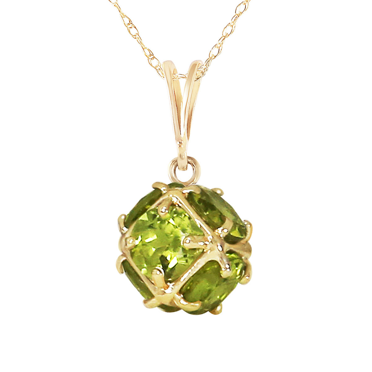 Round Cut Peridot Pendant Necklace 3.3 ctw in 9ct Gold - 5691Y | QP  Jewellers