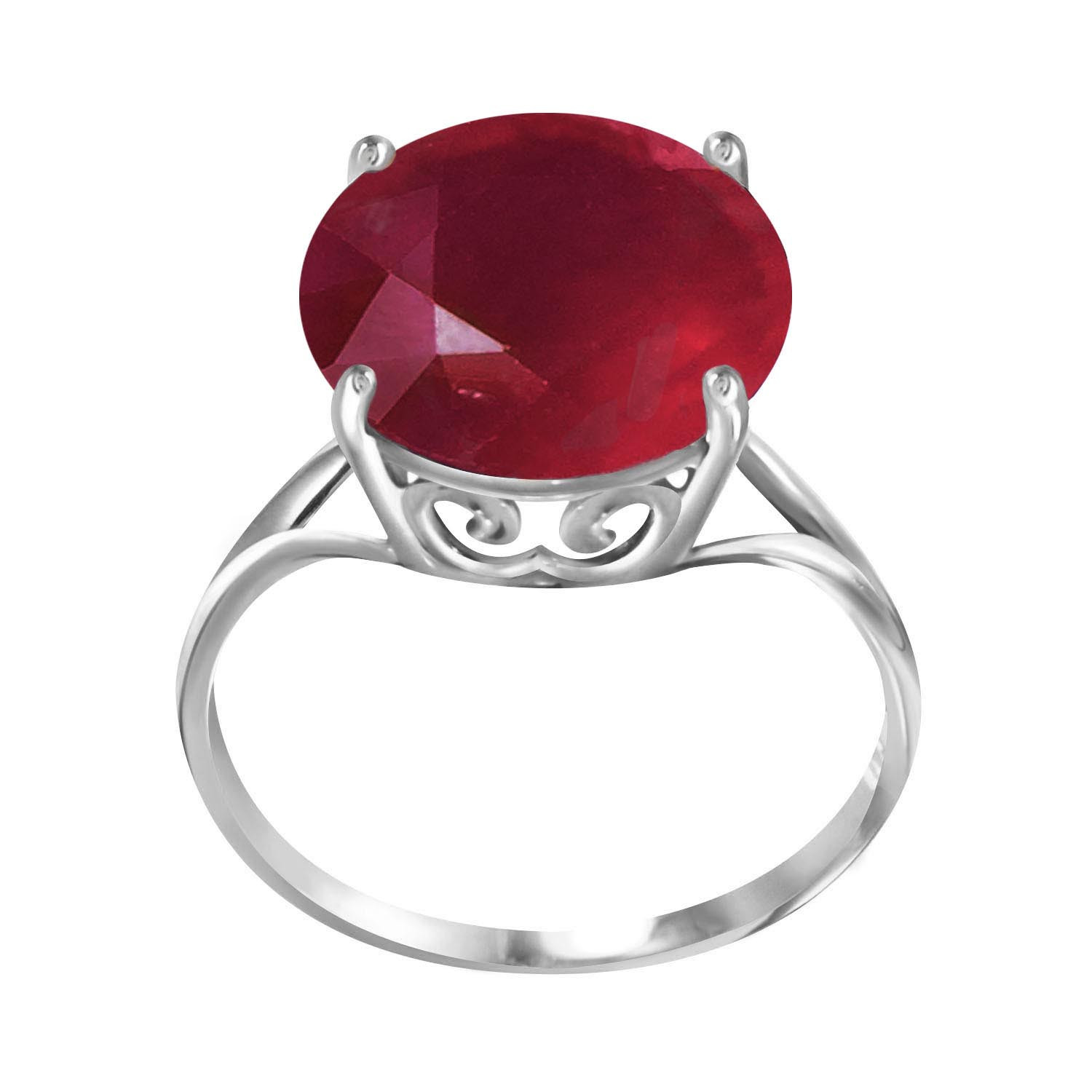 Round Cut Ruby Ring 8.5 ct in 9ct White Gold