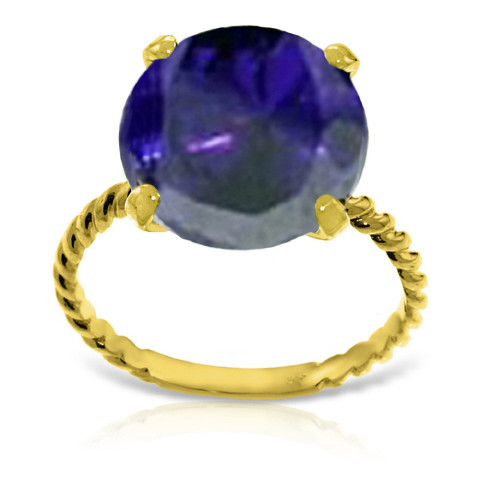 Round Cut Sapphire Ring 9.8 ct in 9ct Gold