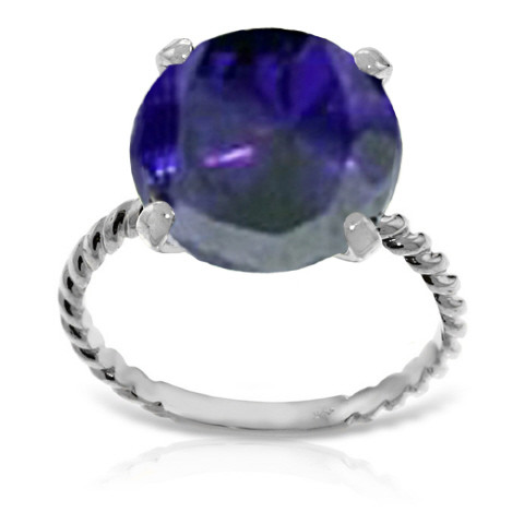 Round Cut Sapphire Ring 9.8 ct in 9ct White Gold