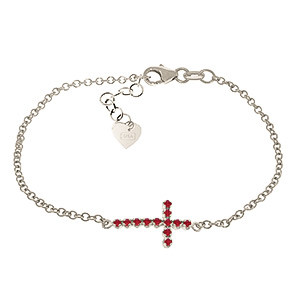 Ruby Adjustable Cross Bracelet 0.3 ctw in 9ct White Gold