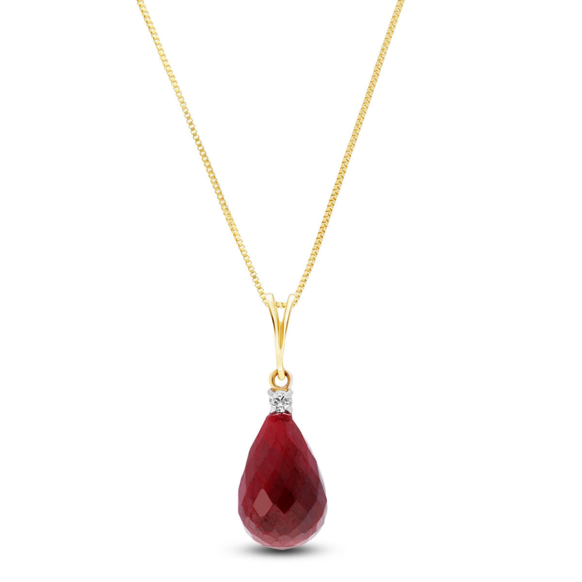 Ruby & Diamond Beret Pendant Necklace in 9ct Gold