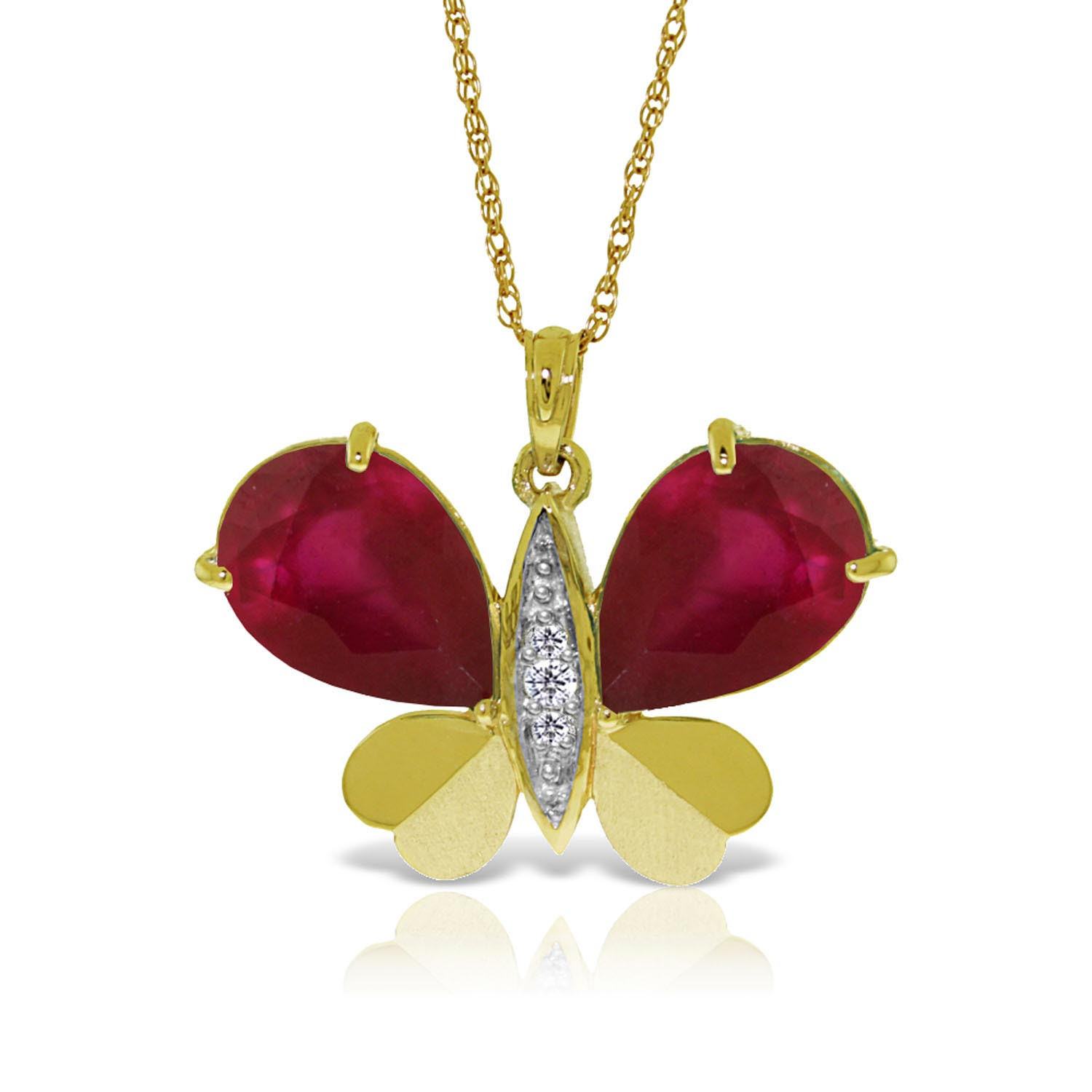 Ruby & Diamond Butterfly Pendant Necklace in 9ct Gold