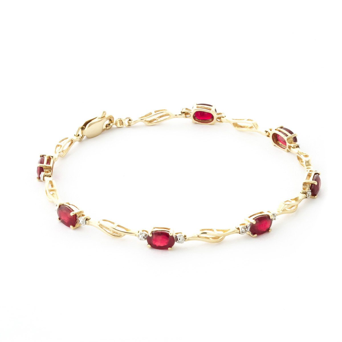 Ruby Diamond Clic Tennis Bracelet In 9ct Gold