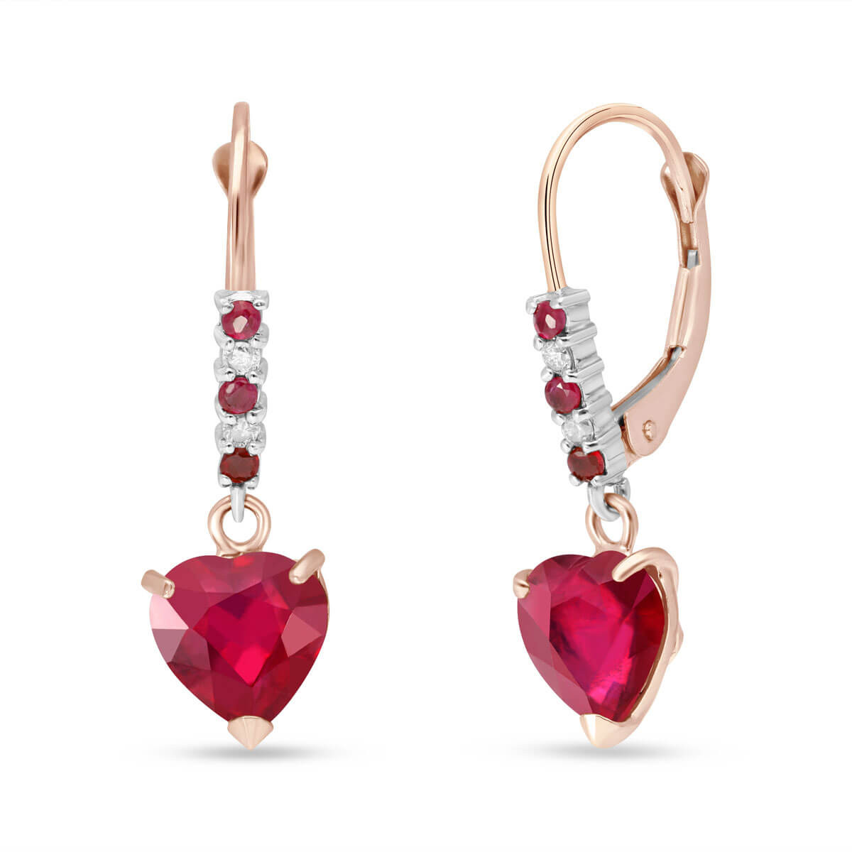 Ruby & Diamond Drop Earrings in 9ct Rose Gold