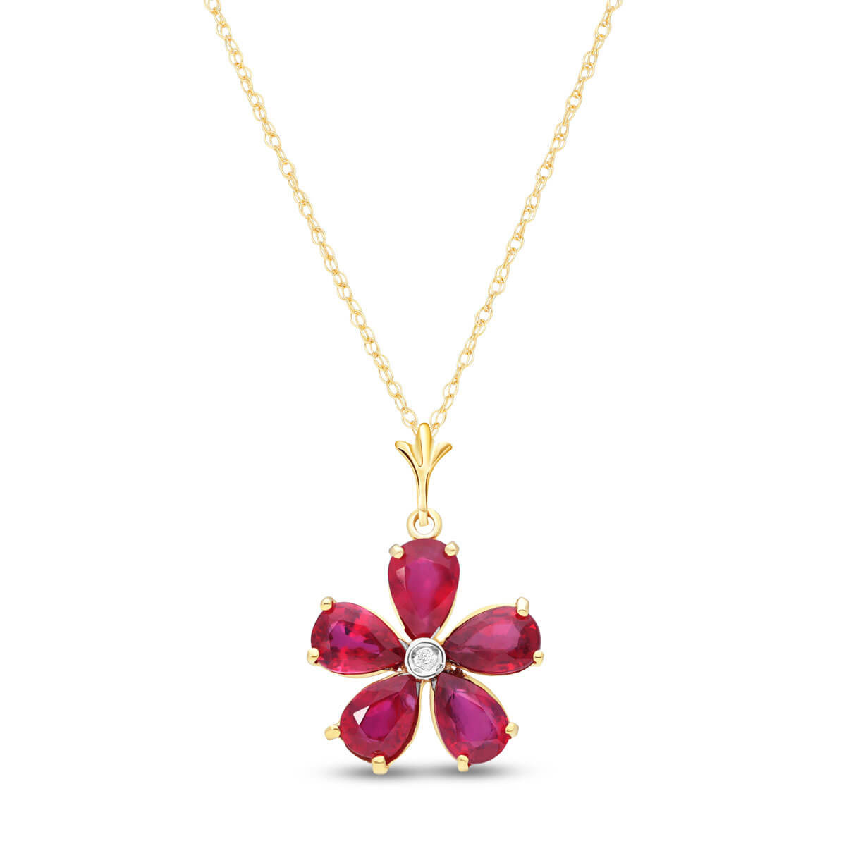 Ruby & Diamond Flower Petal Pendant Necklace in 9ct Gold