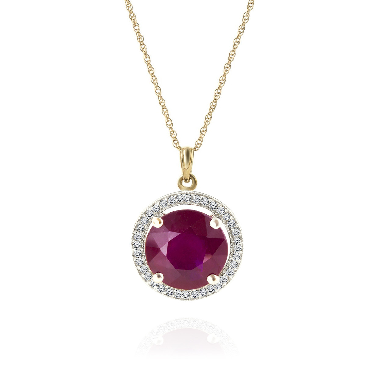 Ruby & Diamond Halo Pendant Necklace in 9ct Gold