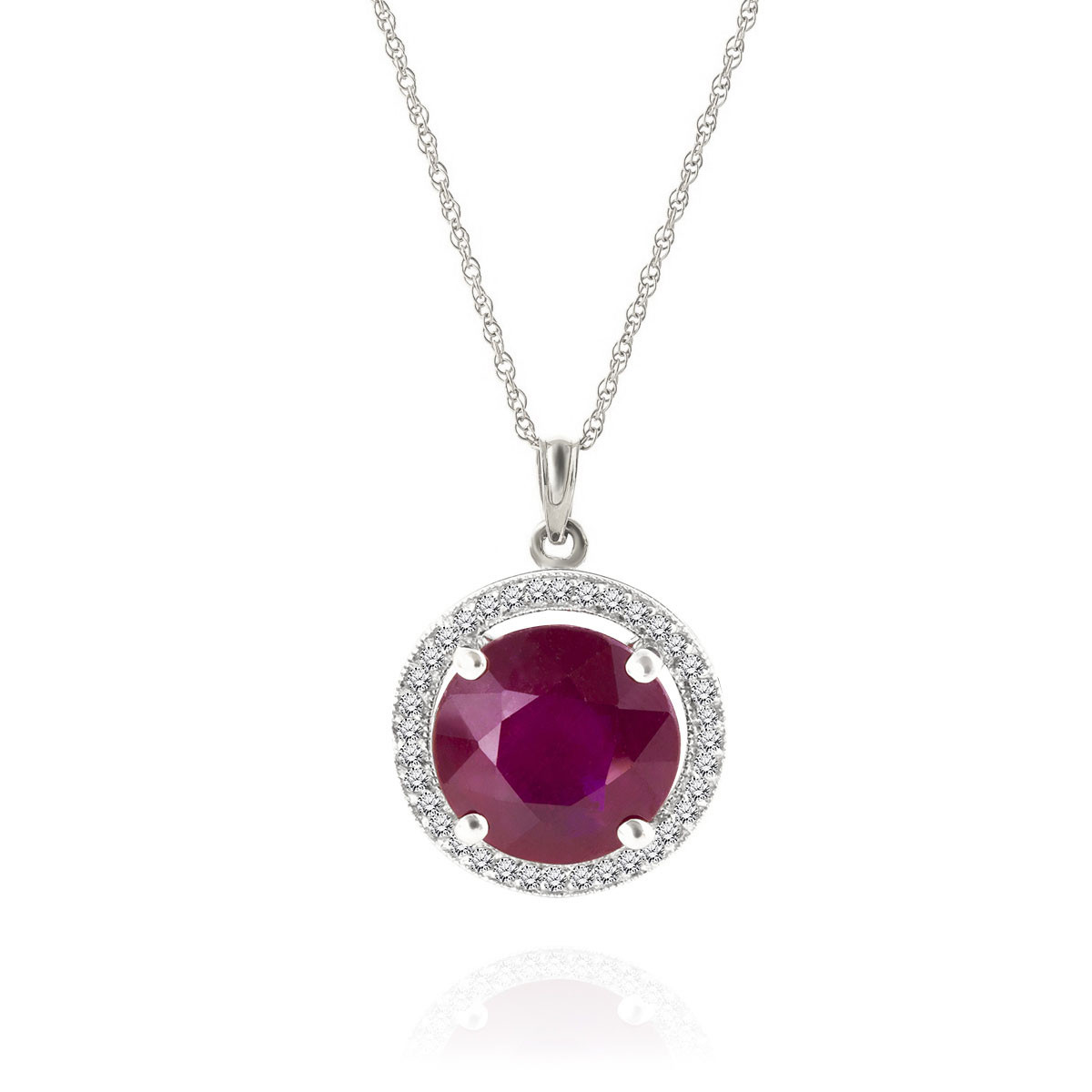 Ruby & Diamond Halo Pendant Necklace in 9ct White Gold