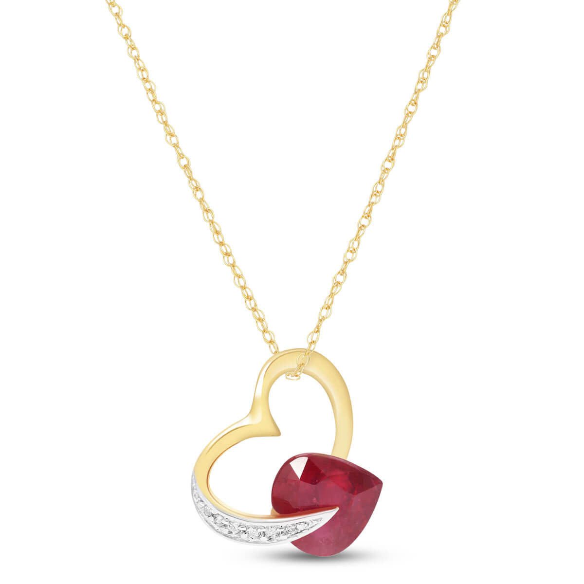 Ruby & Diamond Heart Pendant Necklace in 9ct Gold