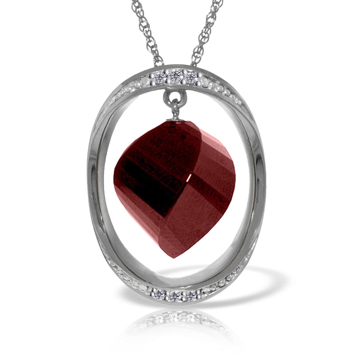 Ruby & Diamond Pendant Necklace in 9ct White Gold