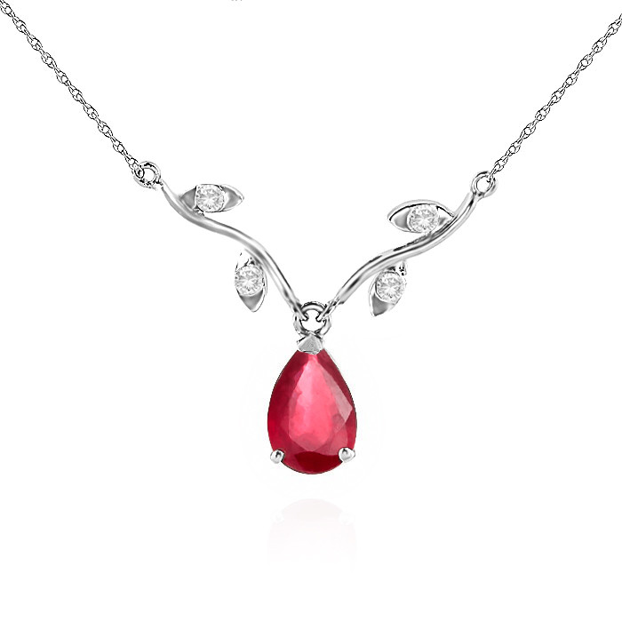 Ruby & Diamond Vine Branch Pendant Necklace in 9ct White Gold