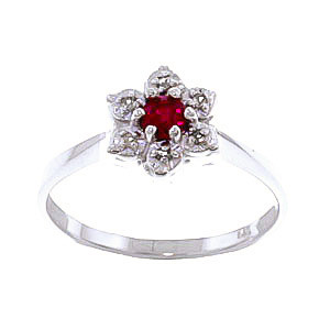 Ruby & Diamond Wildflower Cluster Ring in Sterling Silver