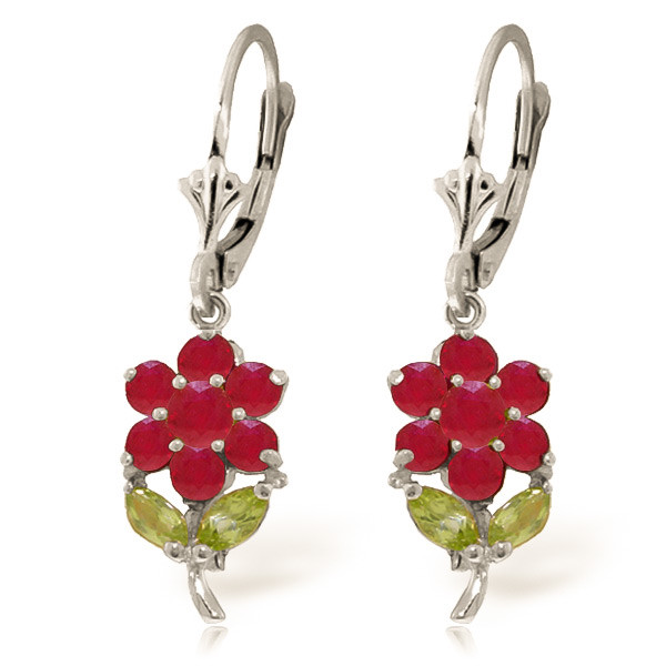 Ruby & Peridot Flower Petal Drop Earrings in 9ct White Gold