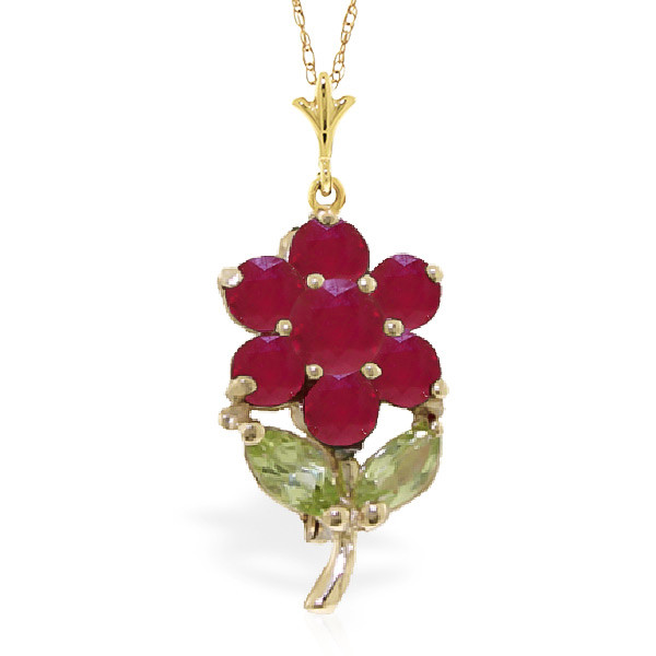 Ruby & Peridot Flower Petal Pendant Necklace in 9ct Gold