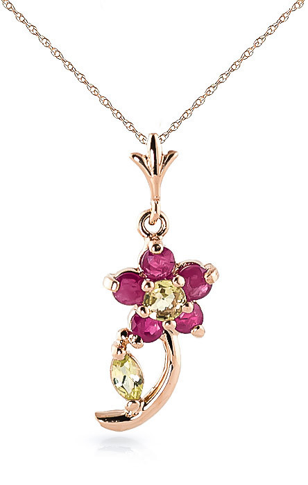 Ruby & Peridot Flower Petal Pendant Necklace in 9ct Rose Gold