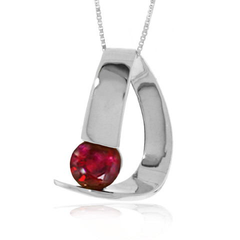 Ruby Arc Pendant Necklace 1.5 ct in 9ct White Gold