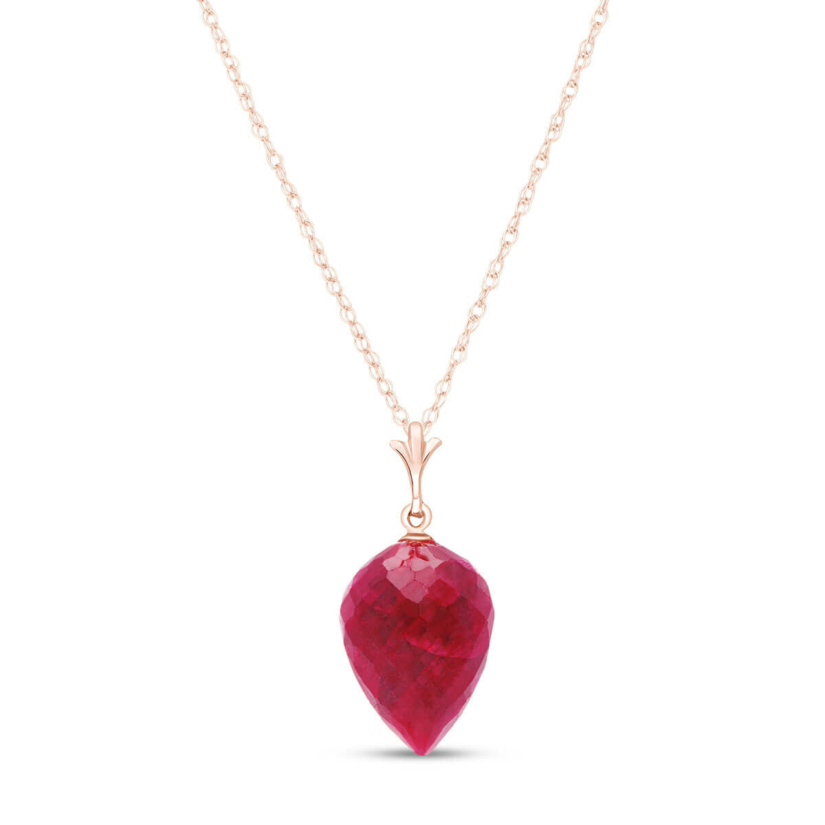 Ruby Briolette Pendant Necklace 13 ct in 9ct Rose Gold