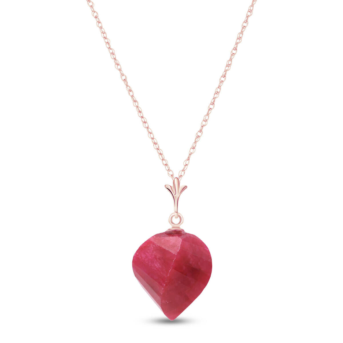 Ruby Briolette Pendant Necklace 15.25 ct in 9ct Rose Gold