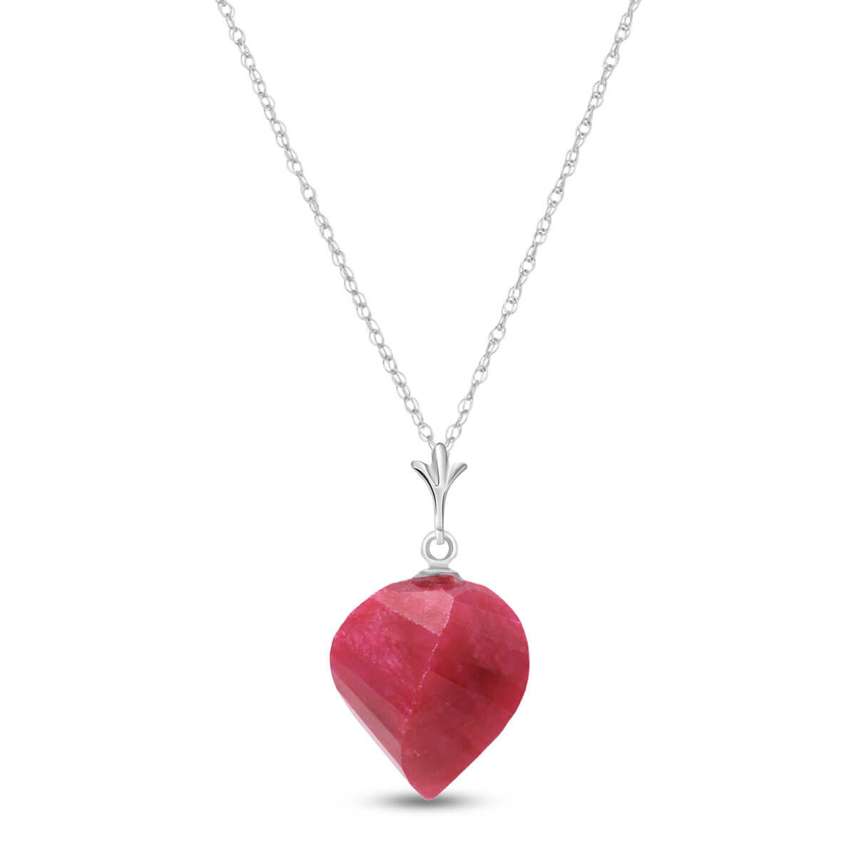 Ruby Briolette Pendant Necklace 15.25 ct in 9ct White Gold