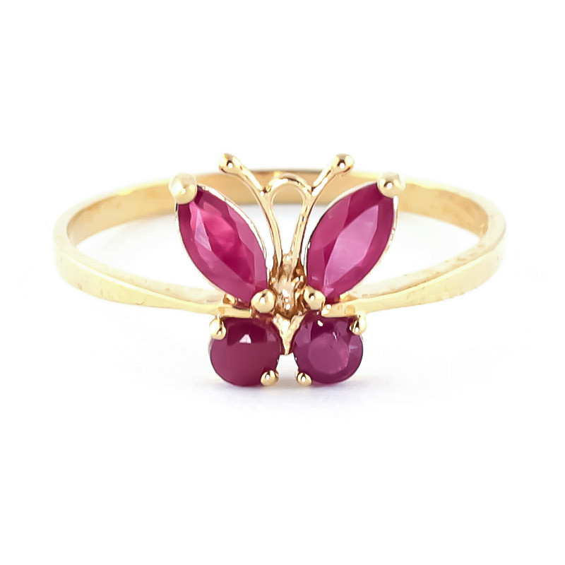 Ruby Butterfly Ring 0.6 ctw in 9ct Gold