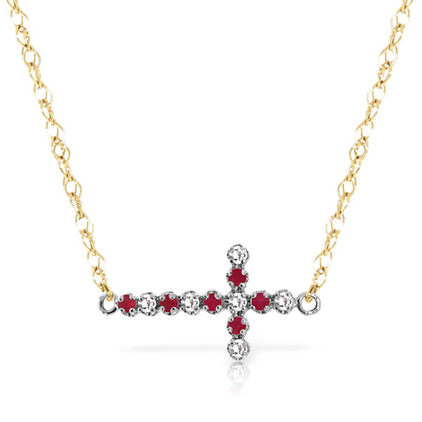 Ruby Cross Pendant Necklace 0.24 ctw in 9ct Gold