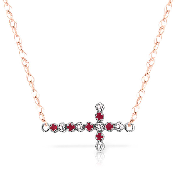 Ruby Cross Pendant Necklace 0.24 ctw in 9ct Rose Gold