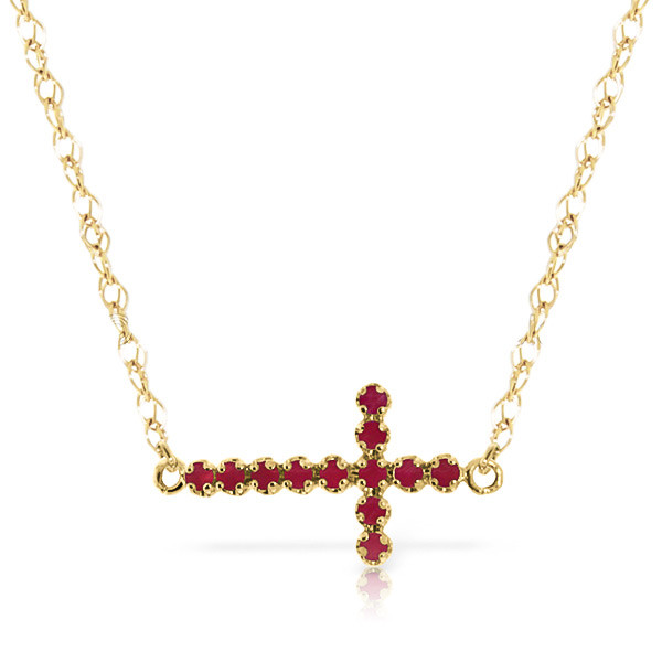 Ruby cross pendant necklace 03 ctw in 9ct gold 5007y qp jewellers ruby cross pendant necklace 03 ctw in 9ct gold aloadofball Choice Image